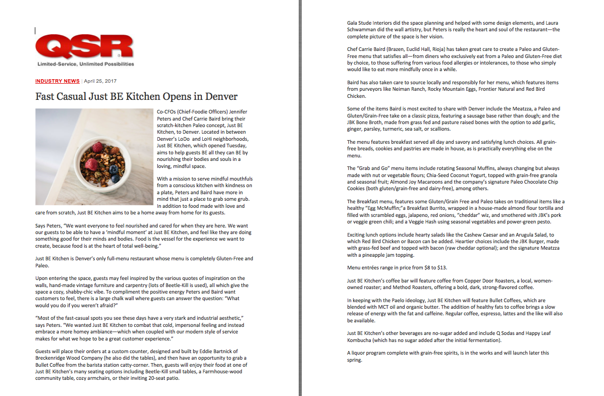 QSR Magazine Opening Feature