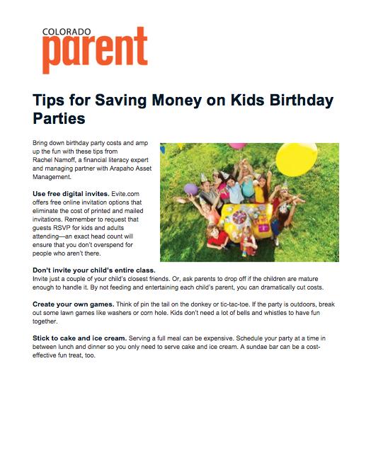 Colorado Parent Kids Birthday Party Tips