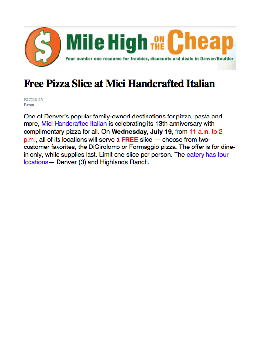 Mile High on the Cheap Anniversary Pizza