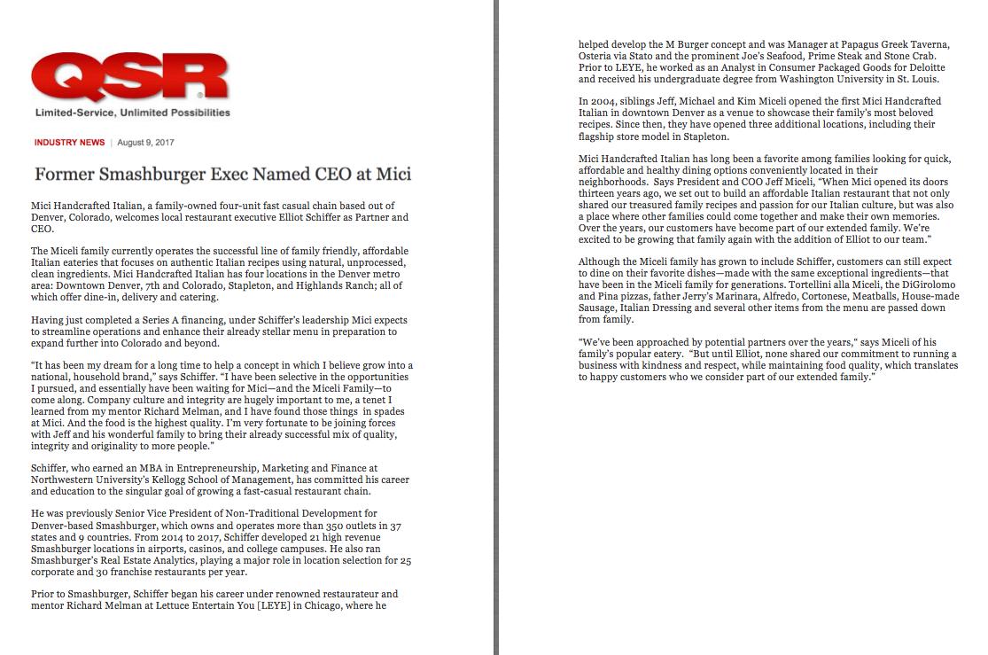 QSR Magazine New CEO