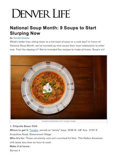 Denver Life Magazine Soups to Slurp
