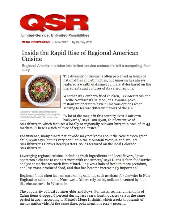 QSR Magazine Menu Innovations