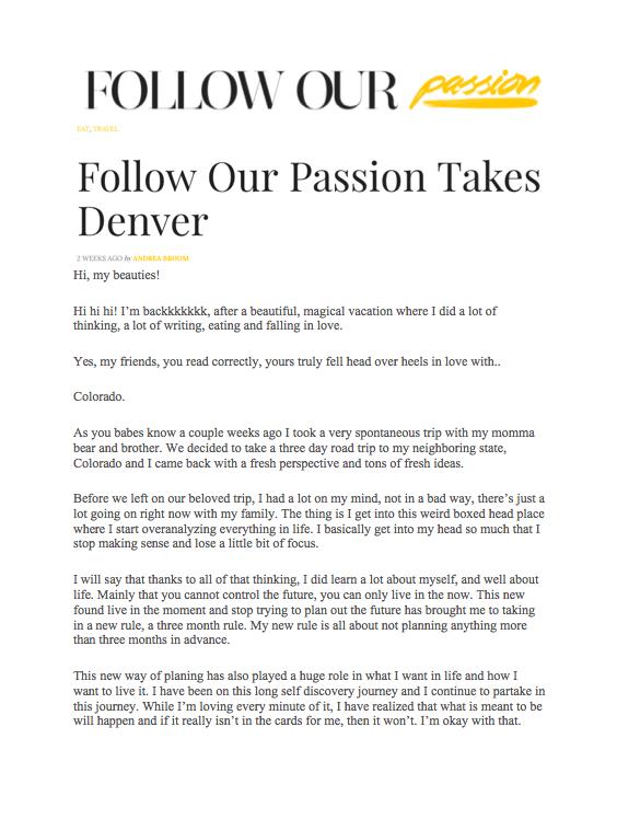 Follow Our Passion: Denver