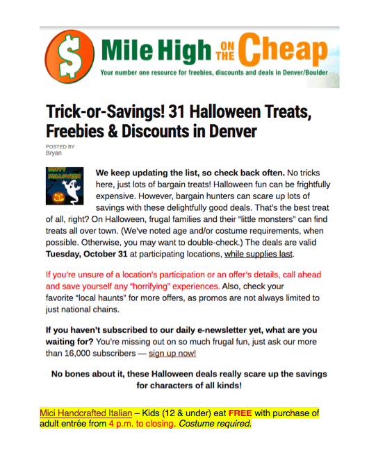 Mile High on the Cheap Halloween Special
