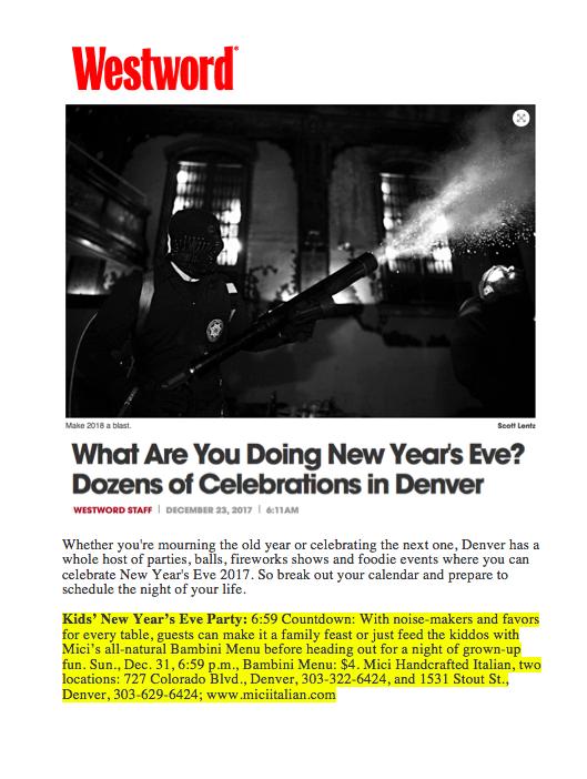 Westword Kids' New Year's Eve