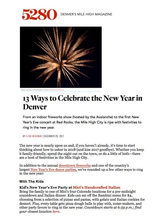 5280 Kids' New Year's Eve