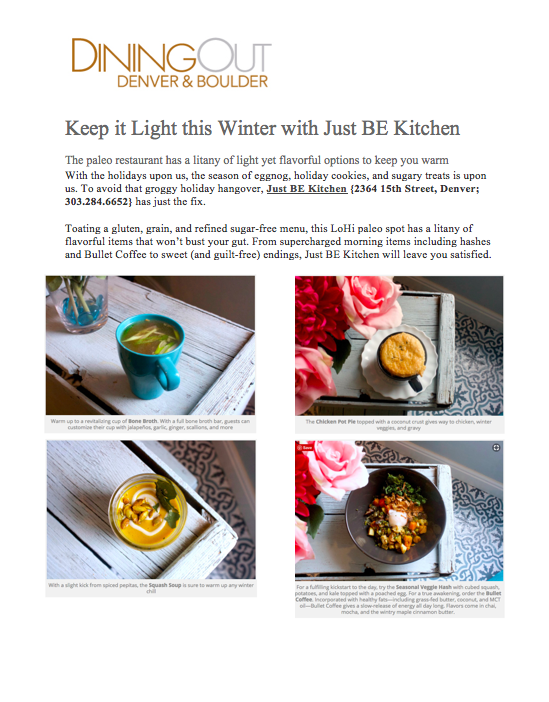 Dining Out Magazine Winter Paleo