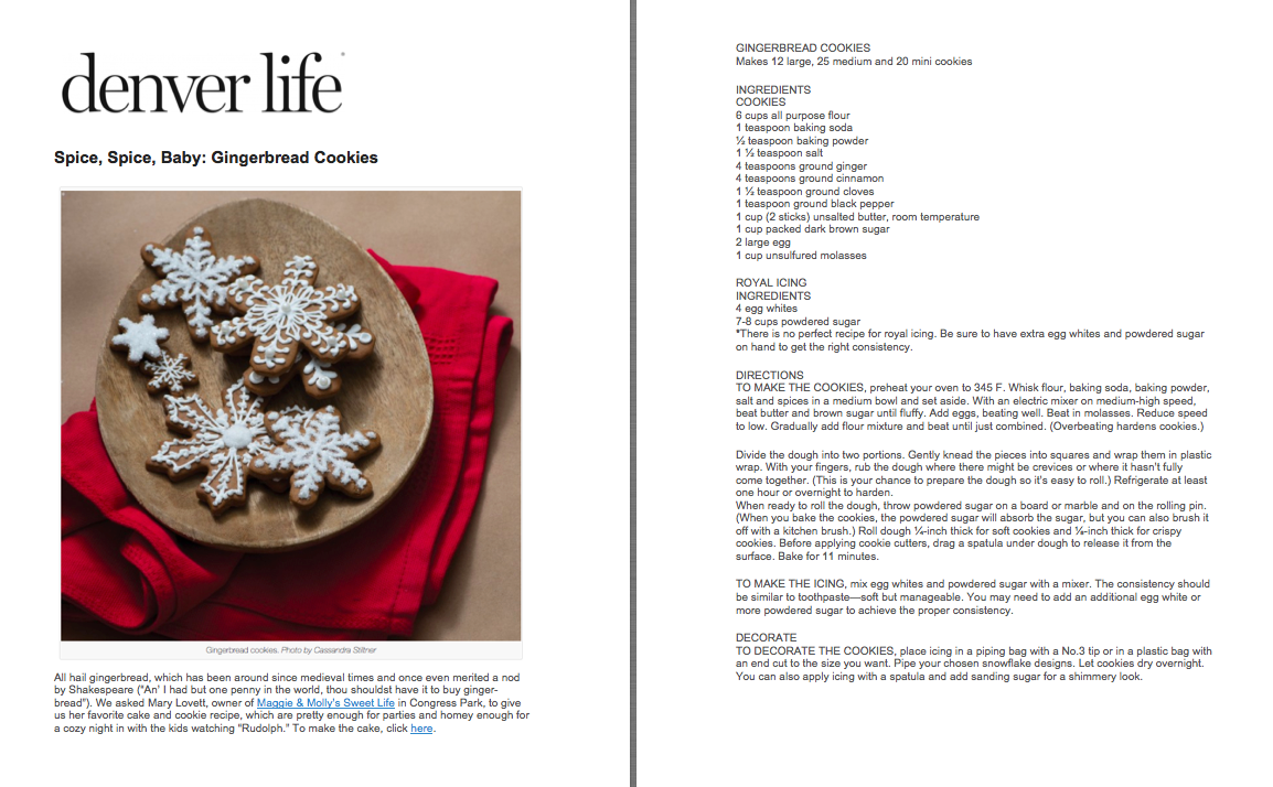Denver Life Magazine Gingerbread Cookies Feature