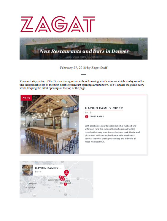 Zagat Best Bars and Restaurant Openings
