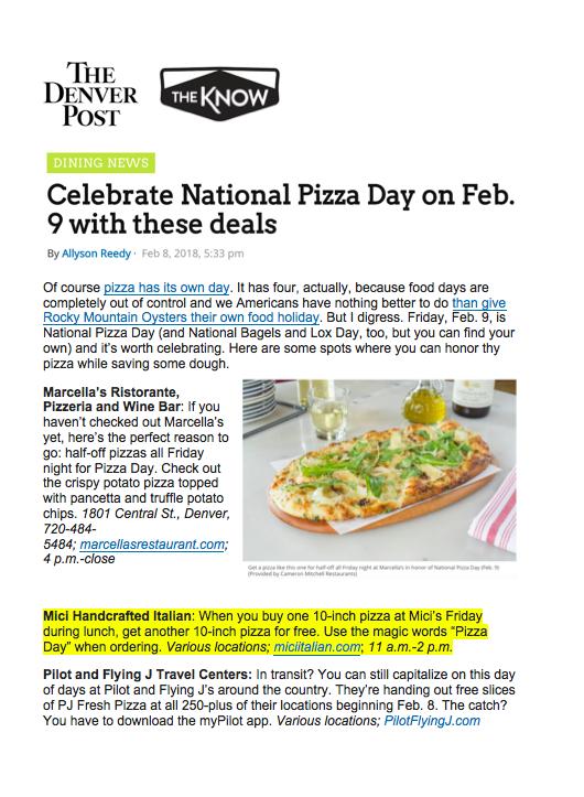 Denver Post National Pizza Day