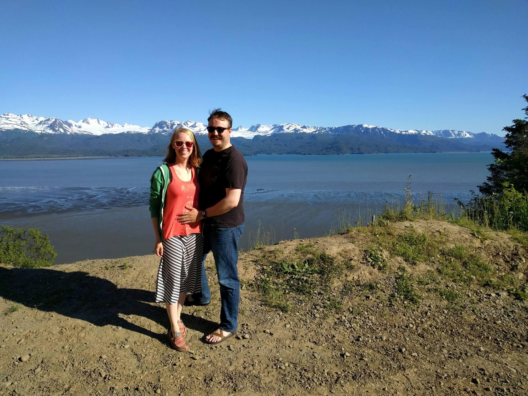 Sam with her husband Huck near their home in Homer, Alaska