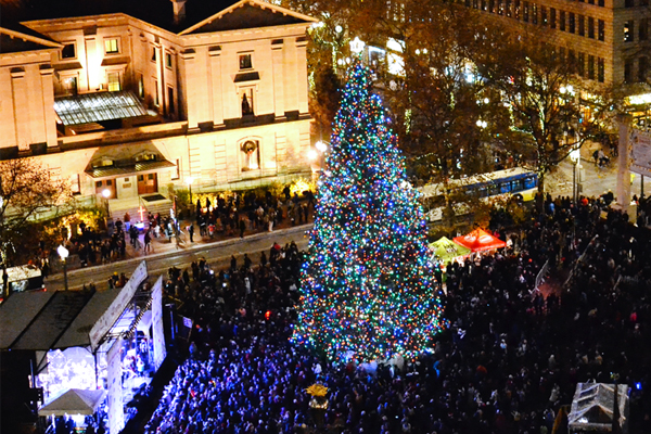The annual Tree Lighting Ceremony in Pioneer Square on Friday, November 27th.