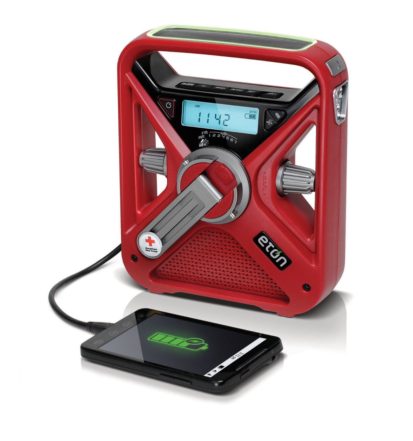 Red Cross FRX3 Crank Radio, $70    This amazing little unit packs in an AM/FM radio, weather alerts, LED flashlight and beacon, aux input, and can charge your smartphone. Charges via rechargeable battery, hand crank, solar power or AAA batteries. Impressive!  Eton