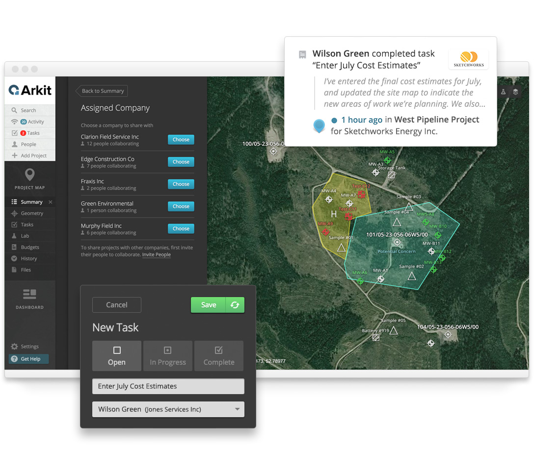 Intuitive tools make it simple to assign work to outside companies and track project progress.