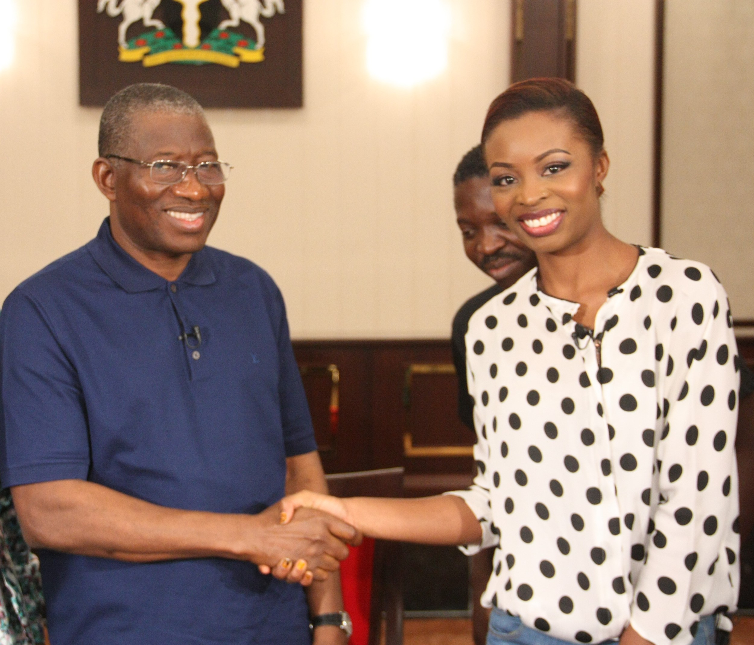 Post-Interview photo with Nigeria's President Goodluck Jonathan