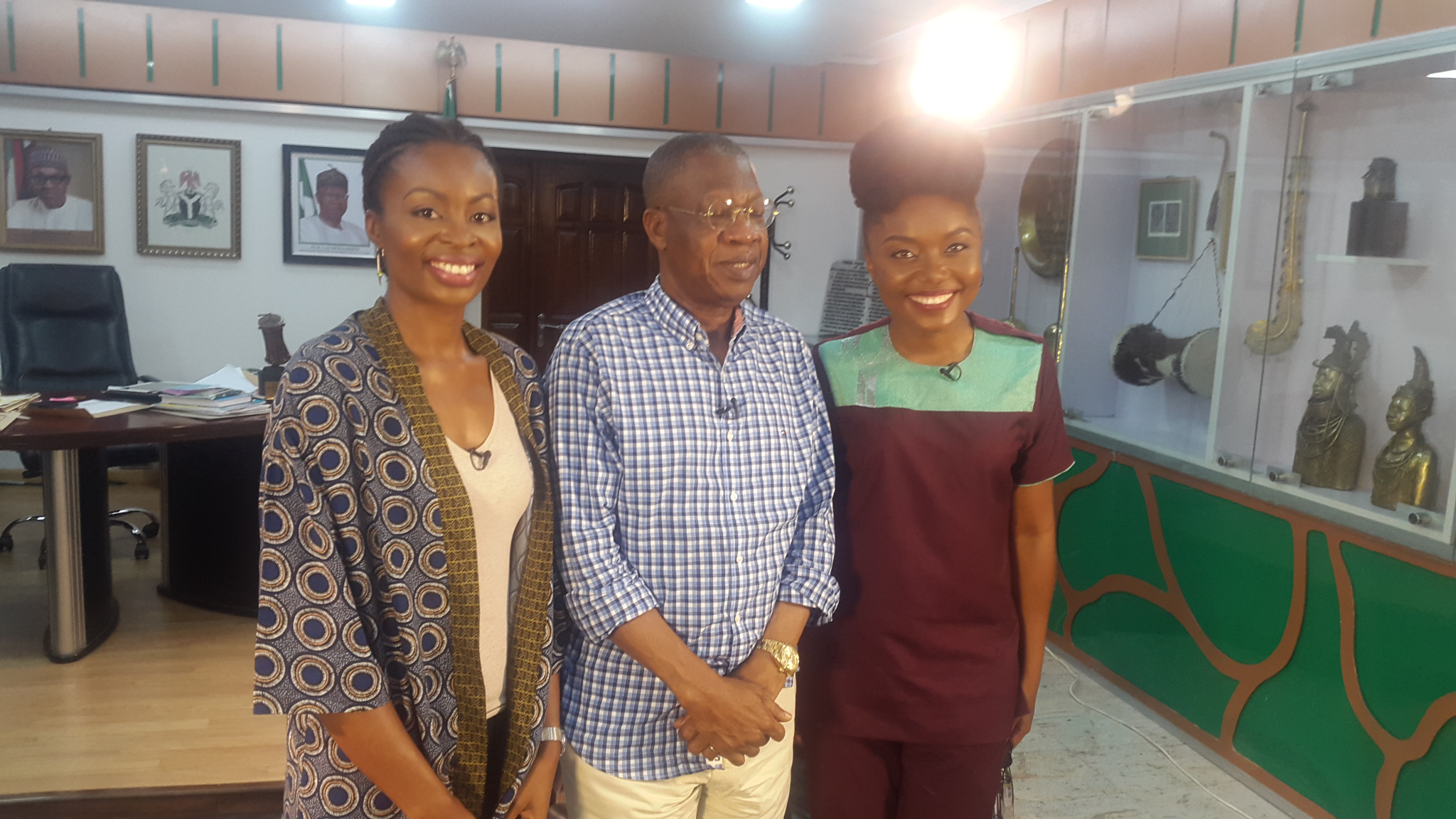 After interviewing Alhaji Lai Mohammed, Minister of Information &  Culture with Arit Okpo