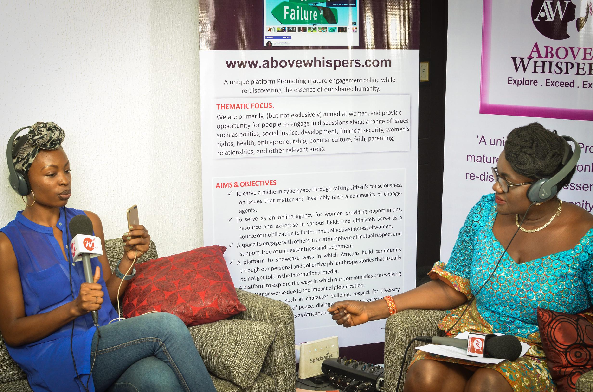 With the host of Above Whispers on Air on WFM 91.7FM, Regina Chris Ogbodo