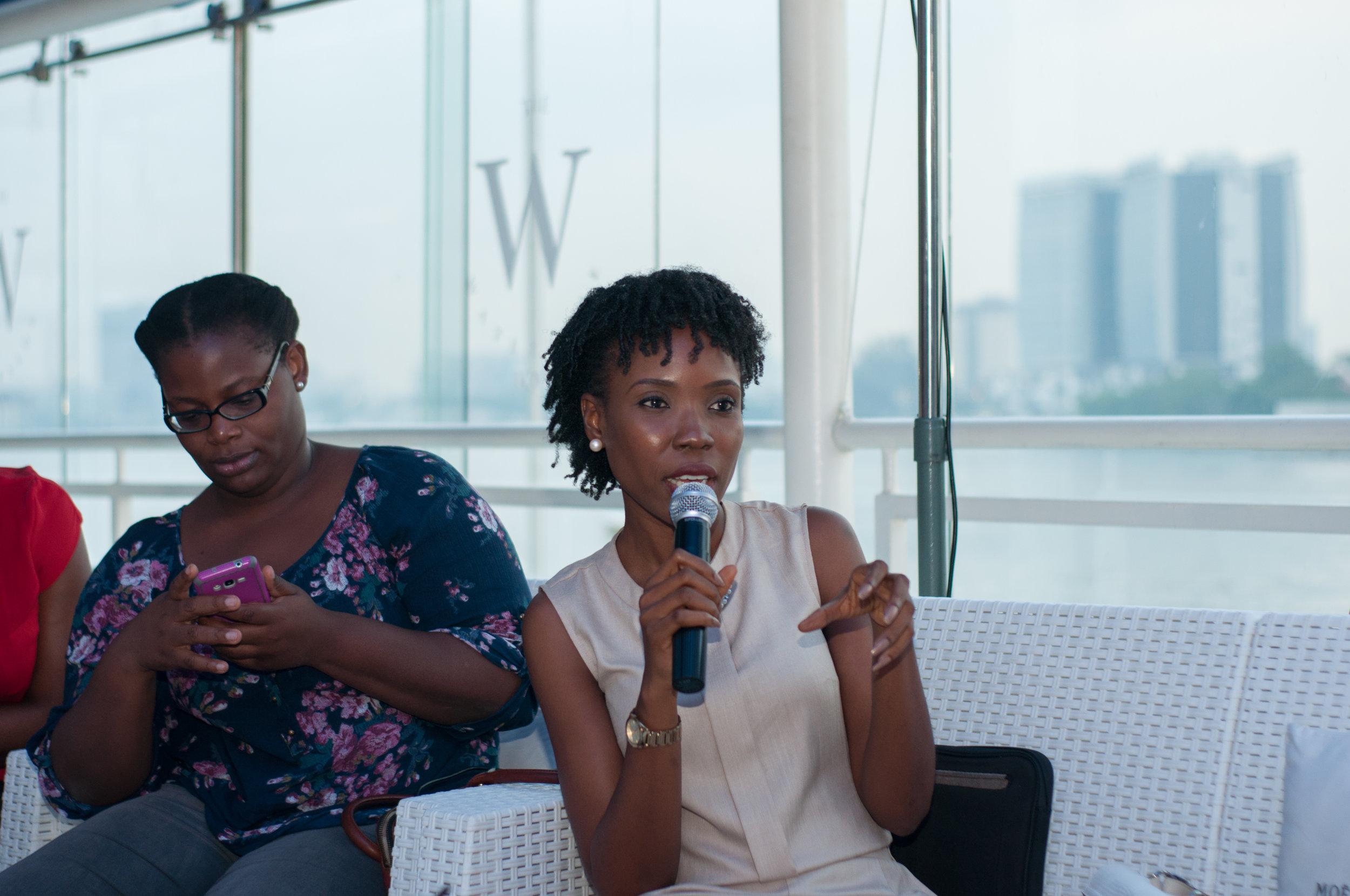 My friends Lala Akindoju (with mic) & Lola T-O at the event