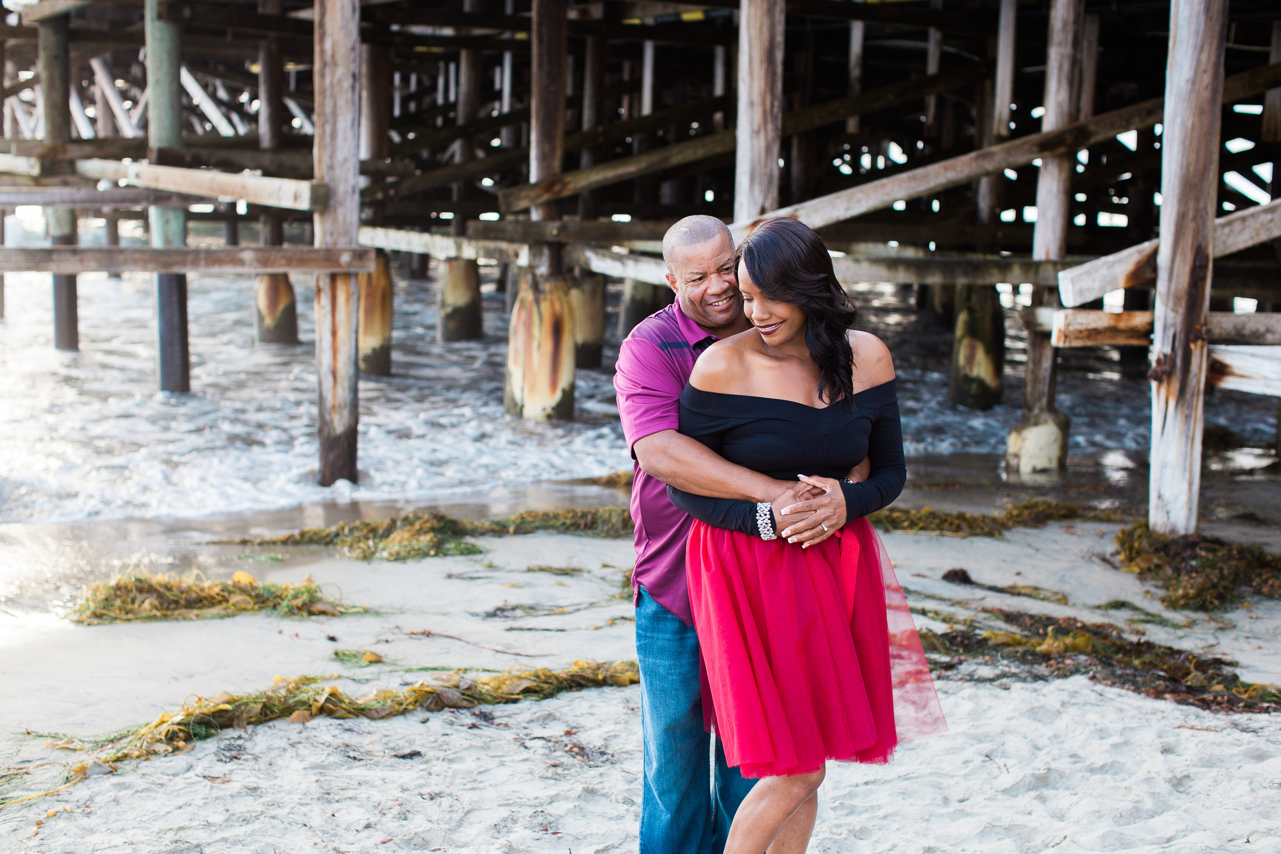 pacific-beach-engagement-session-sunset-golden-hour-crystal-pier-film-style-photographer