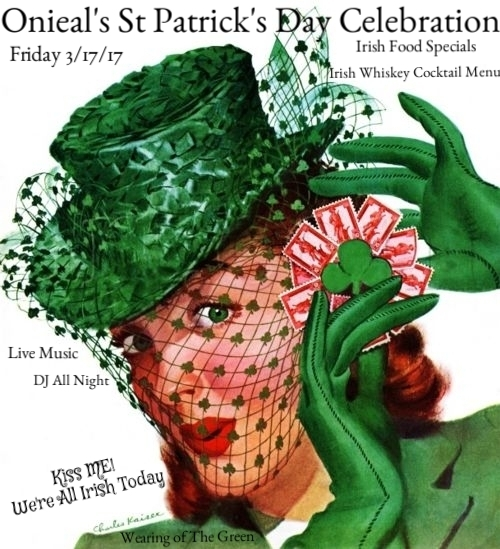Come Celebrate St Paddy's Day with us at Onieals Soho!  Awesome Irish Whiskey Cocktails  Amazing Irish Inspired Food Menu  Fun times for All Even if Your not Irish!