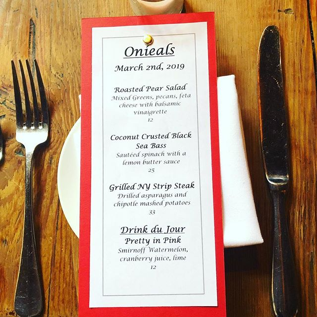 Call us to make a reservation for dinner this evening. These are our very special specials we are serving up fresh from the kitchen! #onieals #specials #newyork #soho #littleitaly #chinatown #restaurant #bar #beer #wine #cocktails #cheers