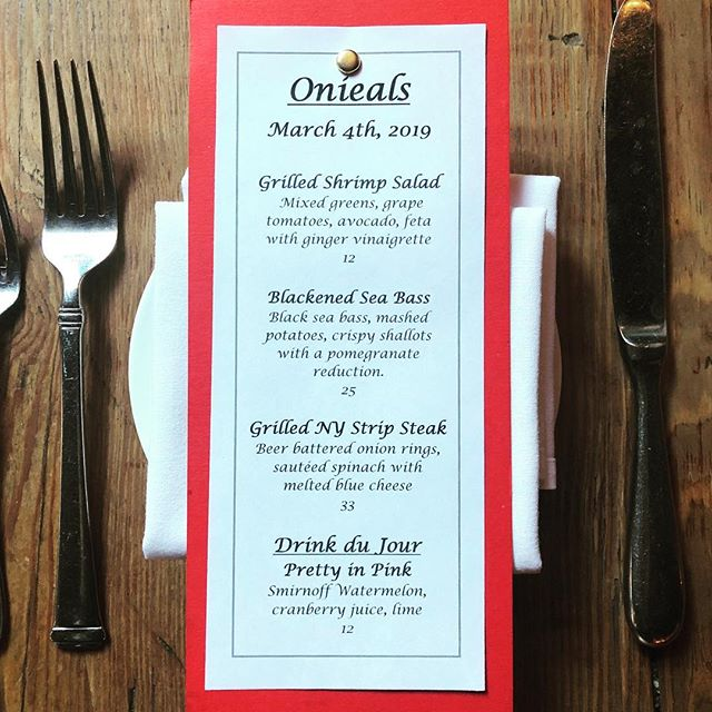 Tonight's specials are scrumptious! Make a reservation for dinner tonight. #onieals #specials #newyork #soho #littleitaly #chinatown #restaurant #bar #beer #wine #cocktails #cheers
