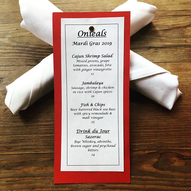 We have gone Cajun tonight with our dinner specials in celebration of Mardi Gras! Call for a reservation 212-941-9114 or email us at info@onieals.com #mardigras #onieals #specials #newyork #soho #littleitaly #chinatown #restaurant #bar #beer #wine #cocktails #cheers