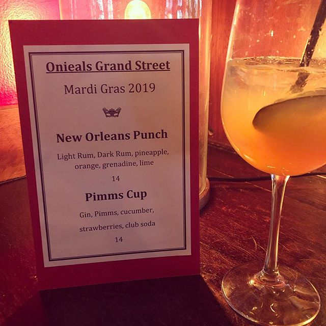Tonight's drink specials celebrating Mardi Gras! Come by for some New Orleans style debauchery! #pimms #mardigras #onieals #events #joinus #newyork #soho #littleitaly #chinatown #restaurant #bar #beer #wine #cocktails #cheers