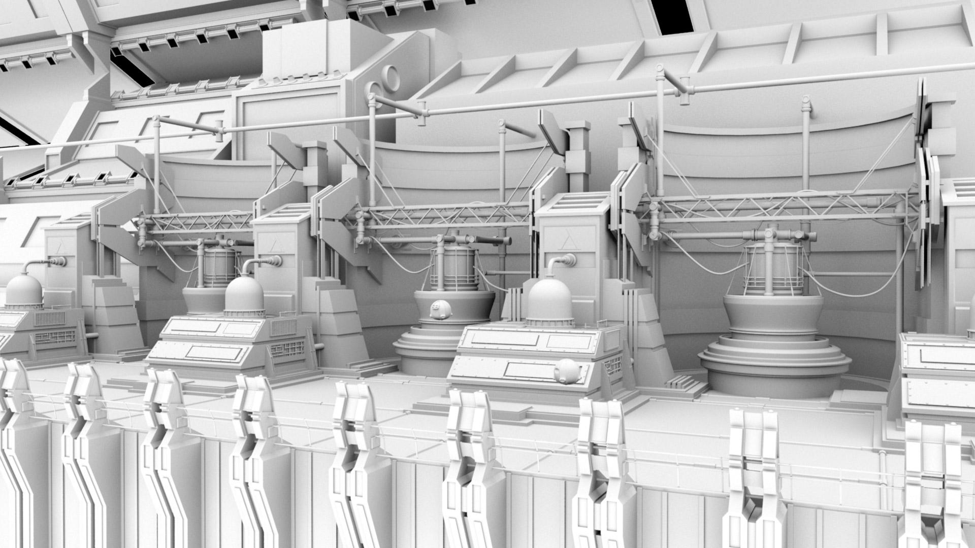 Set modelingand reference file assembly in Maya.
