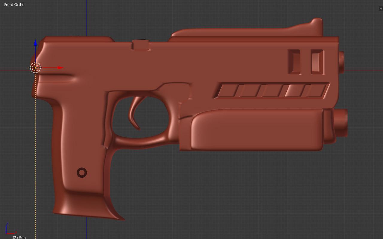 """Some hard-surface props likeJudge Dredd's """"Lawgiver"""" pistol were modeled in Blender."""