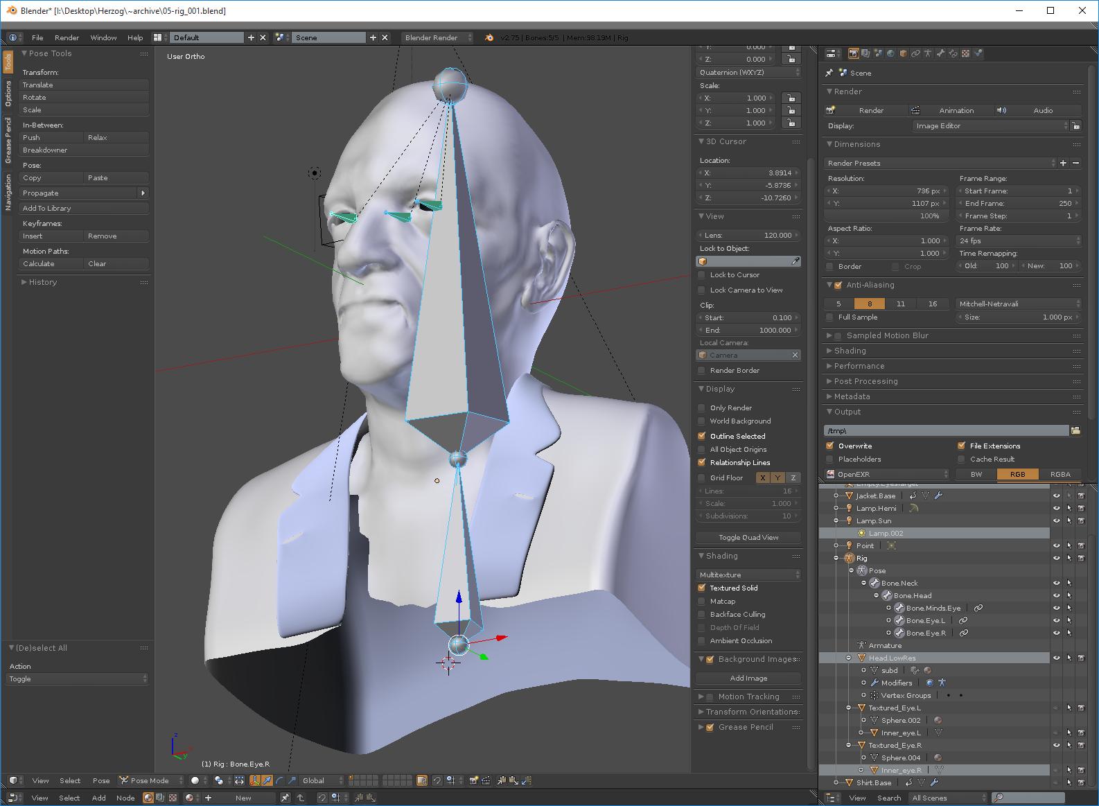 Applying a simple pose rig in Blender.