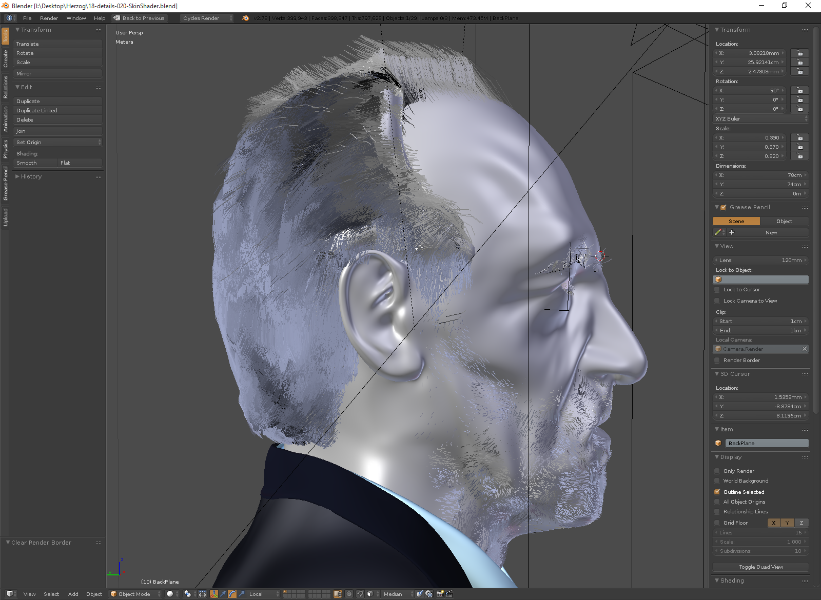 Hair particle systems in progress.