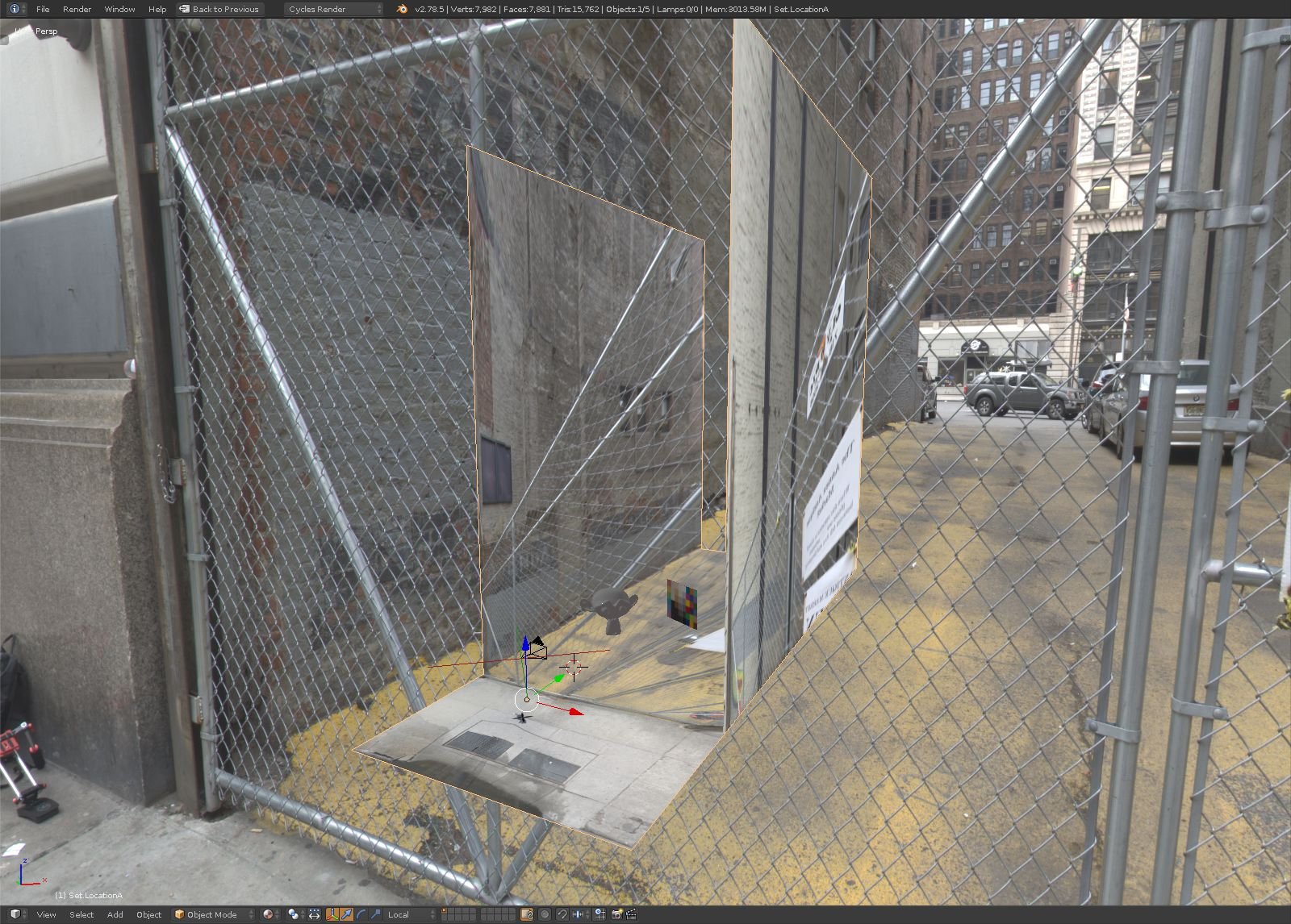 The baked set. Note how the wire fence  is cast on the walls and ground. Good enough for the lighting data we need. The key captures are the yellow ground and brick walls.
