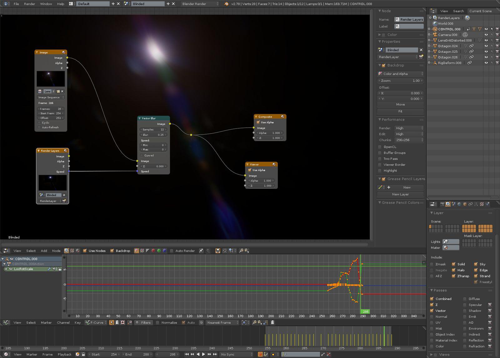 Generating camera flares back in Blender for later compositing in Nuke.