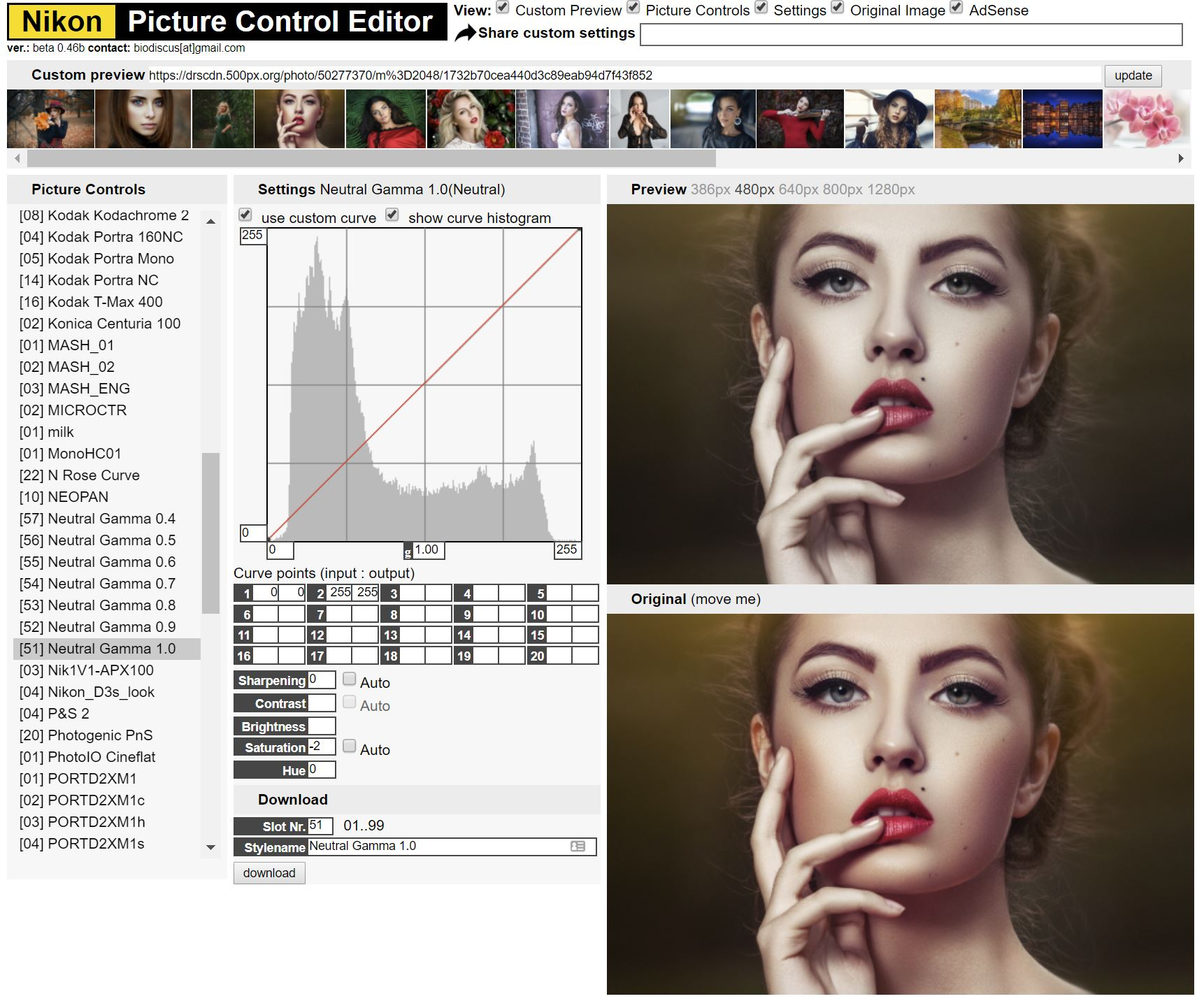 NIkon Picture Control Editor. Not a Nikon user? Your camera brand will have similar color curve solutions.