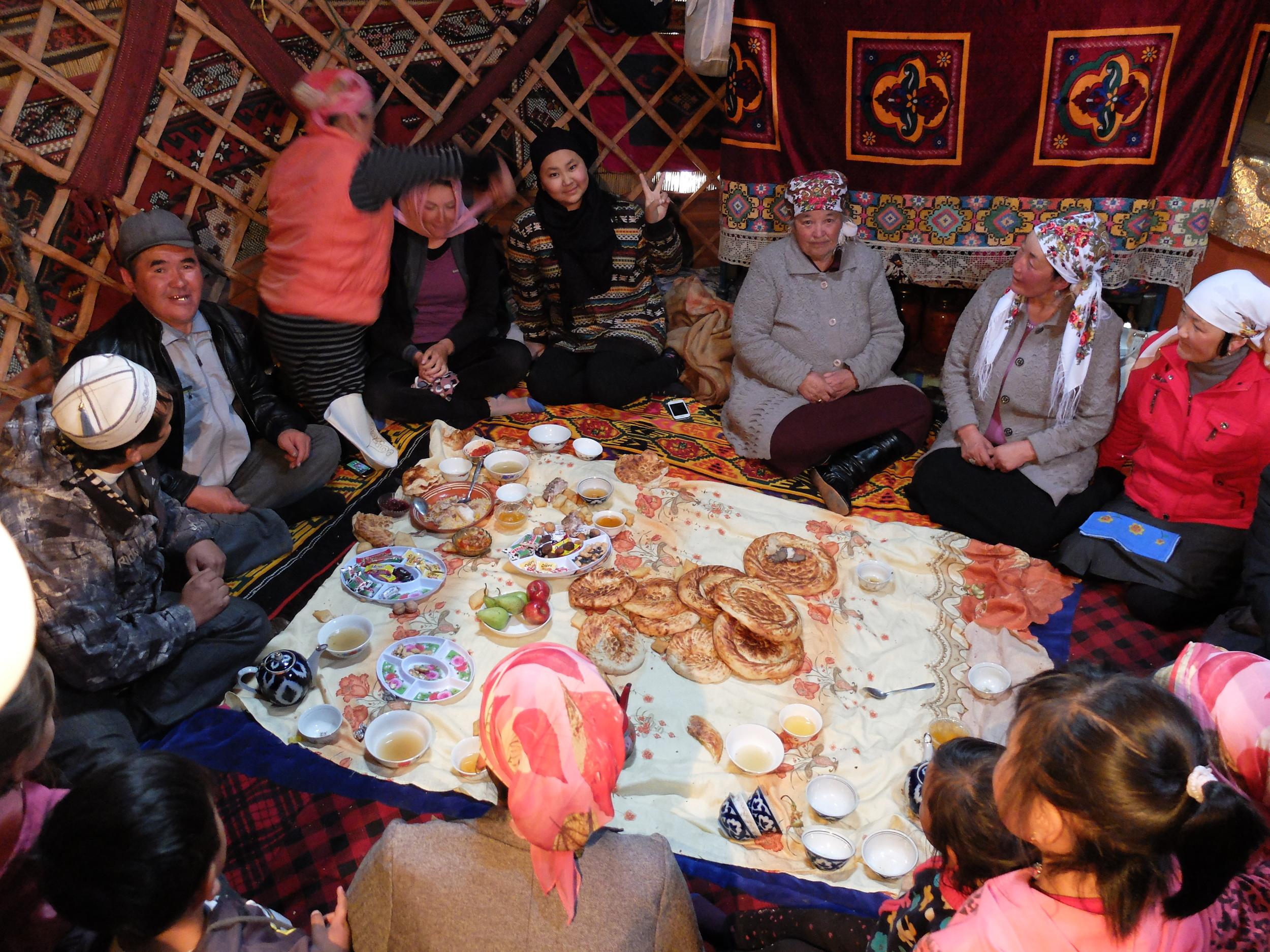 Family do in a Kyrgyz yurt