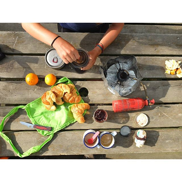 Bon App! Bicycle touring breakfasting like a pro. #France #worldbybike #croissant #aeropress #msr #vulpinerides #180degreesfromhome