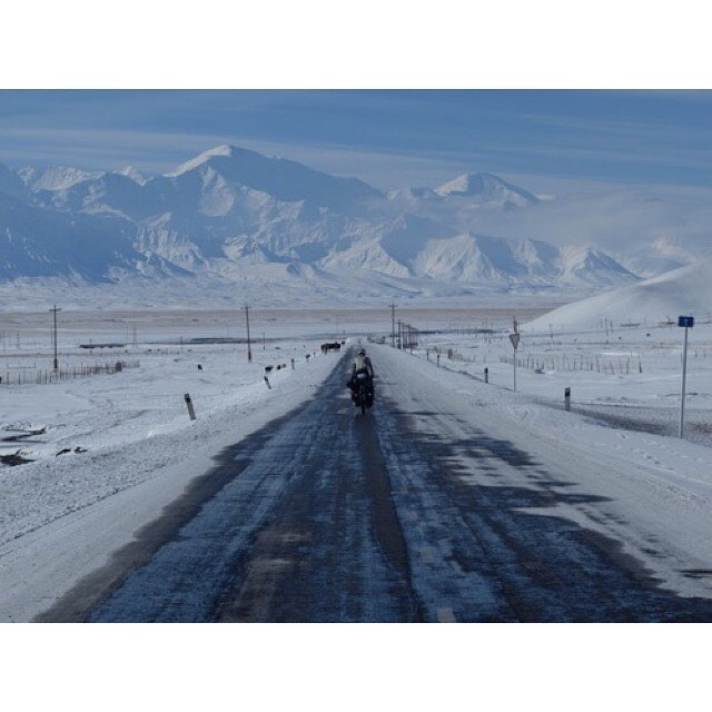One year ago today. Having been snowed into a tiny village on my birthday, the next morning we set off into the Pamir Mountains. Today, I'm off to work. #whatadifferenceayearmakes #pamirmountains #kyrgyzstan #worldbybike #180degreesfromhome #takemeback