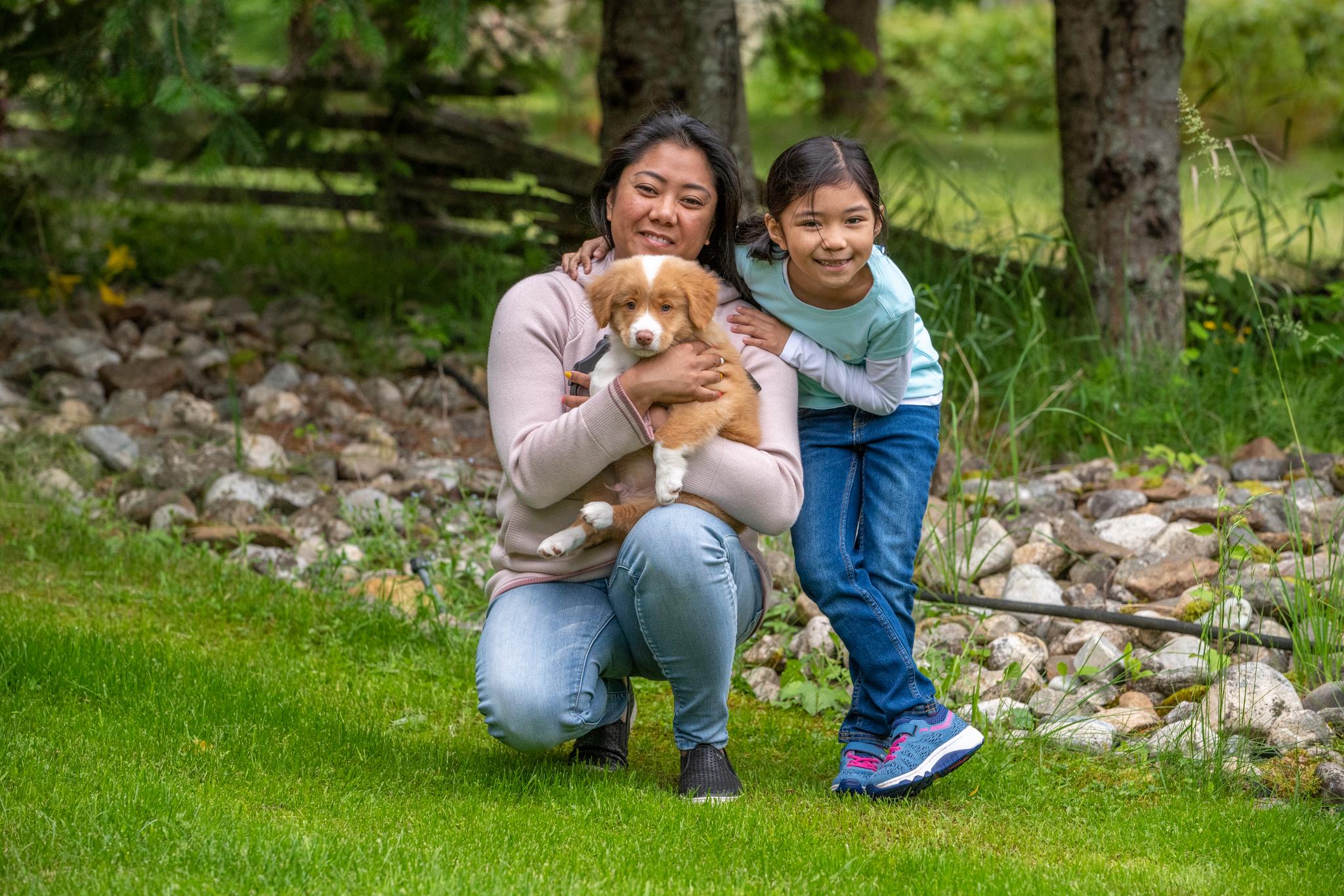 Susan, Mia and puppy Wilbur. Photo: Tasha Hall, BC Farm and Family Photography.