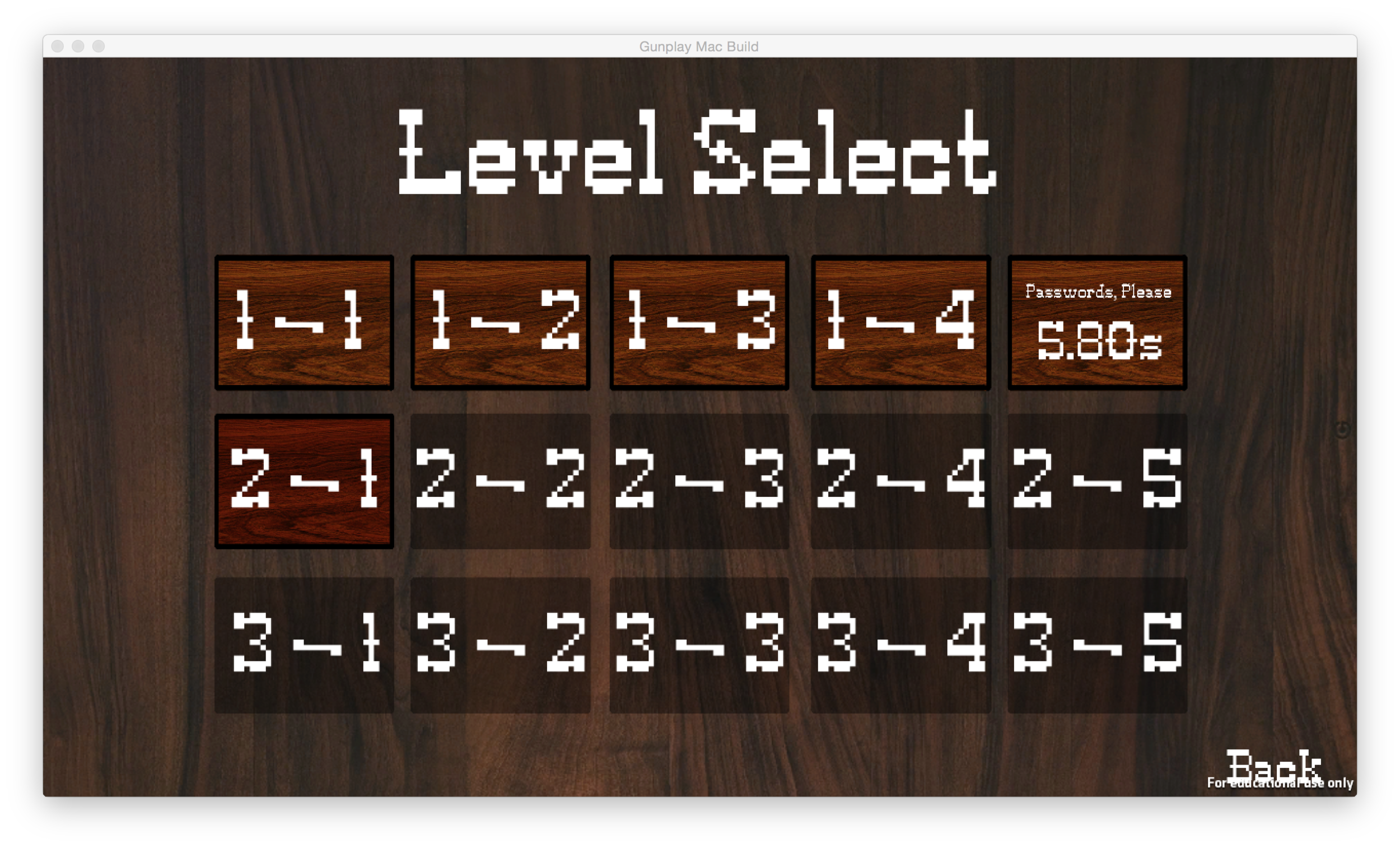 Level Select Screen