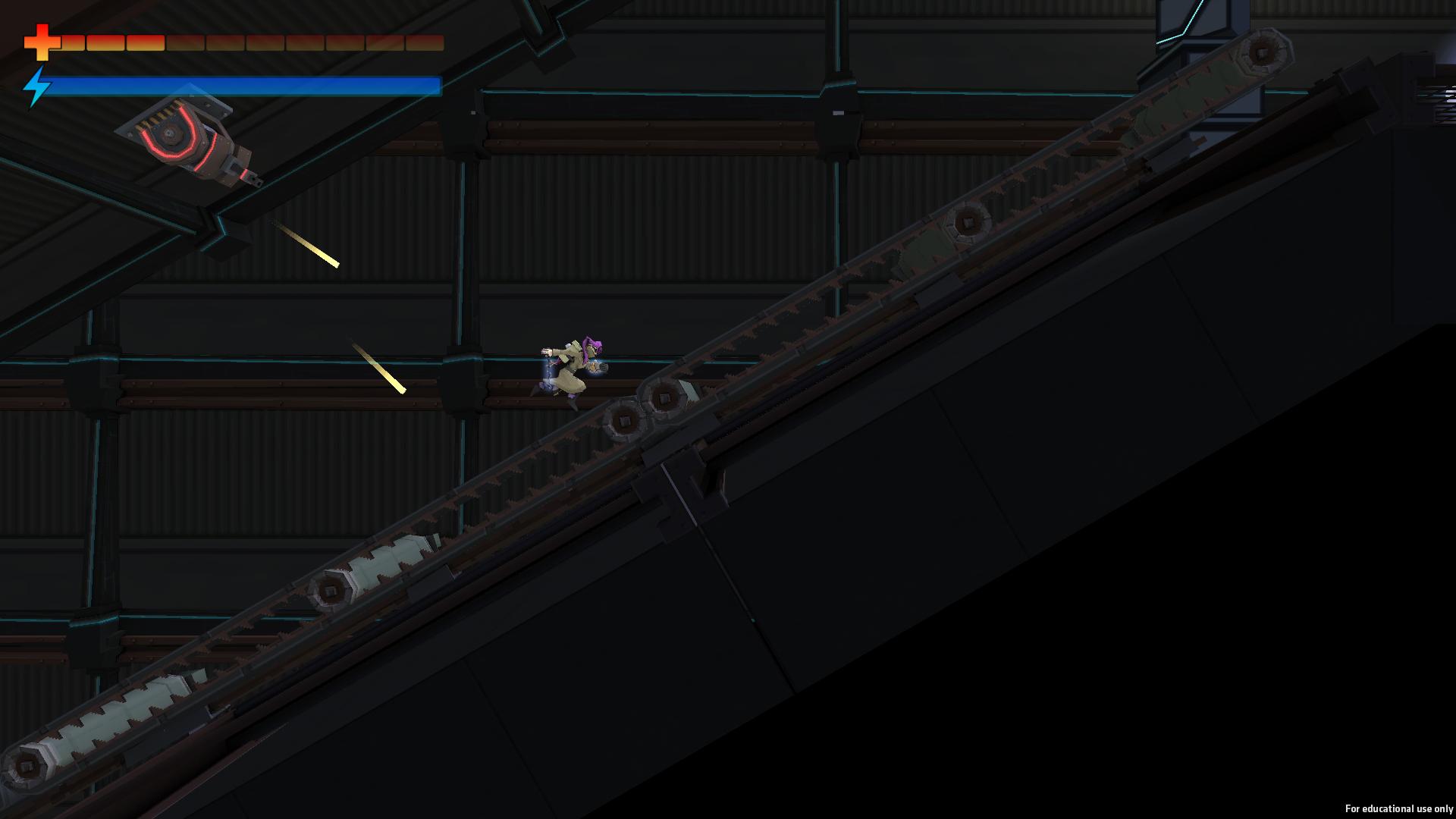 Running up a conveyor belt, dodging bullets