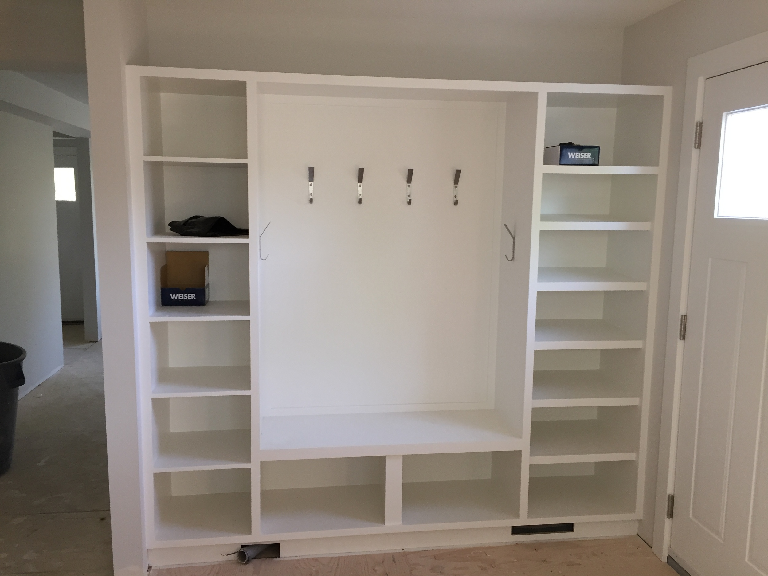 Painted with hooks installed for tons of storage!