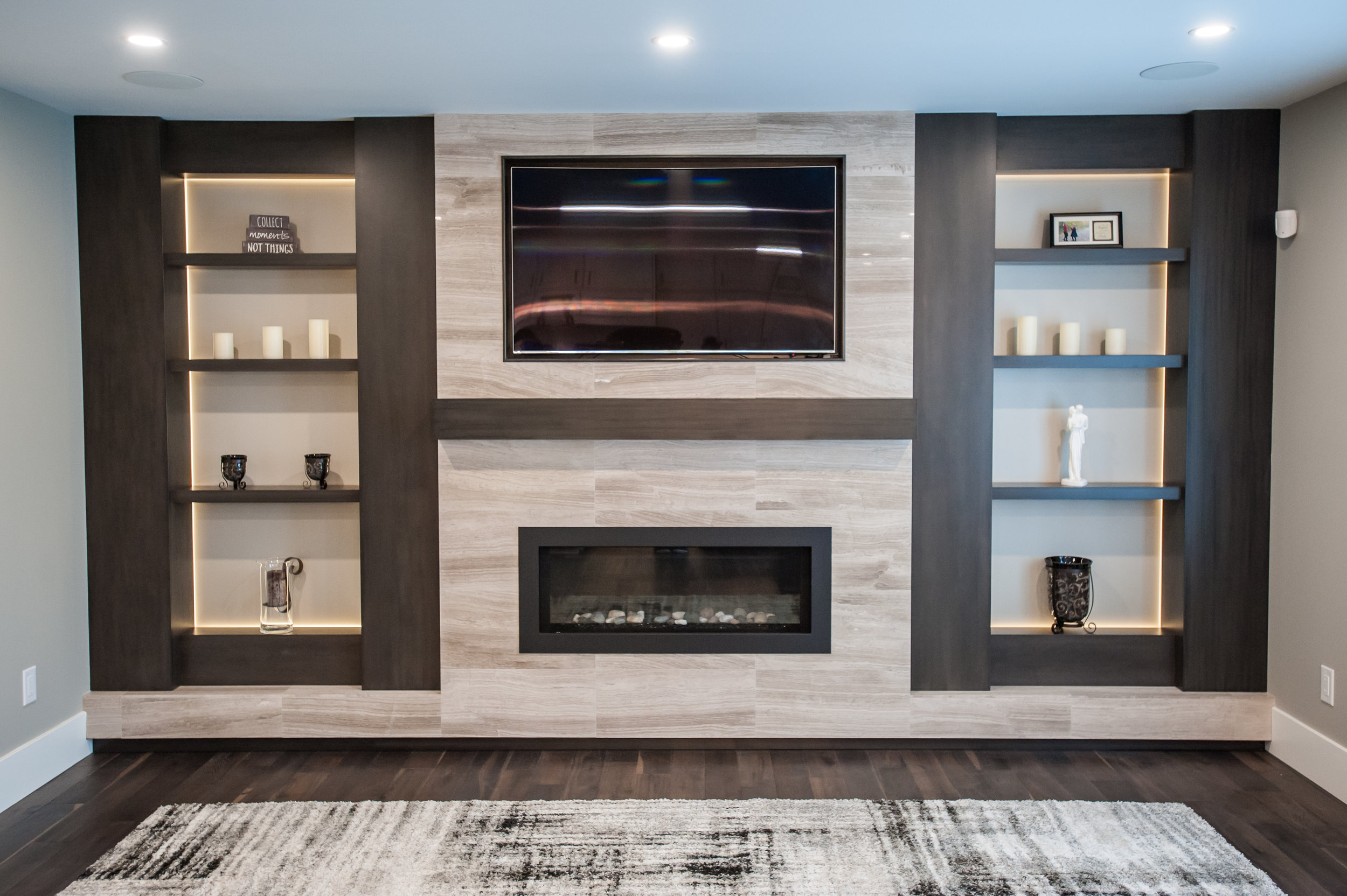 custom fireplace backlit