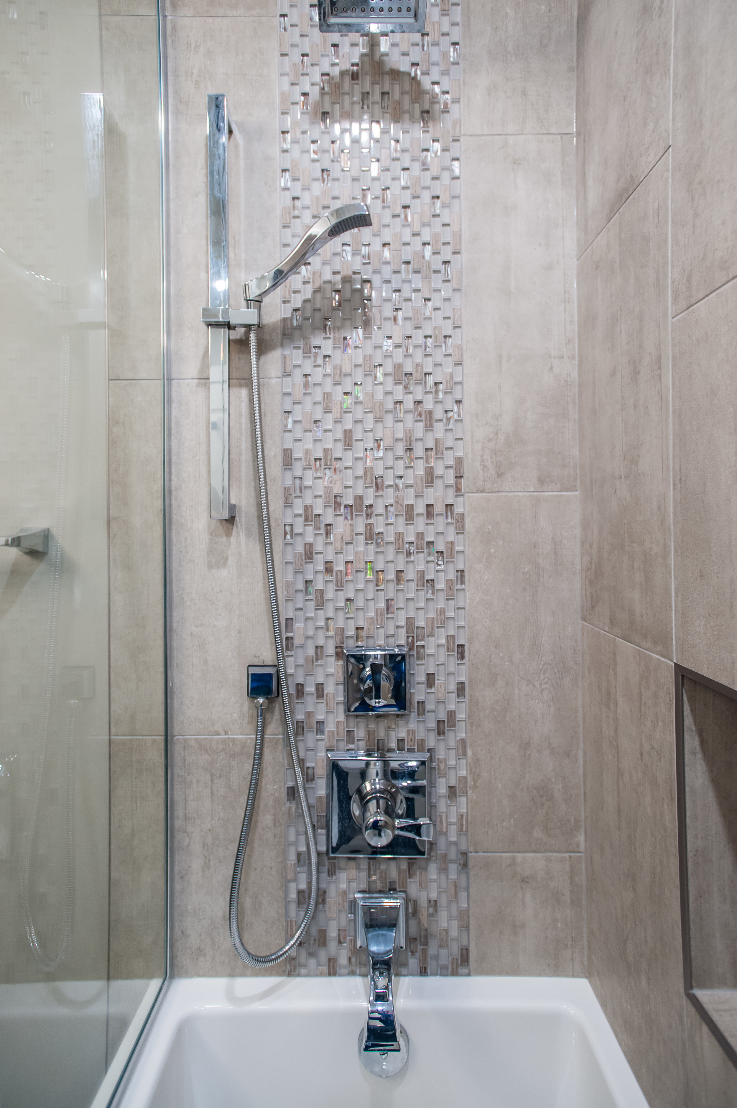 shower mosaic tile fixtures chrome