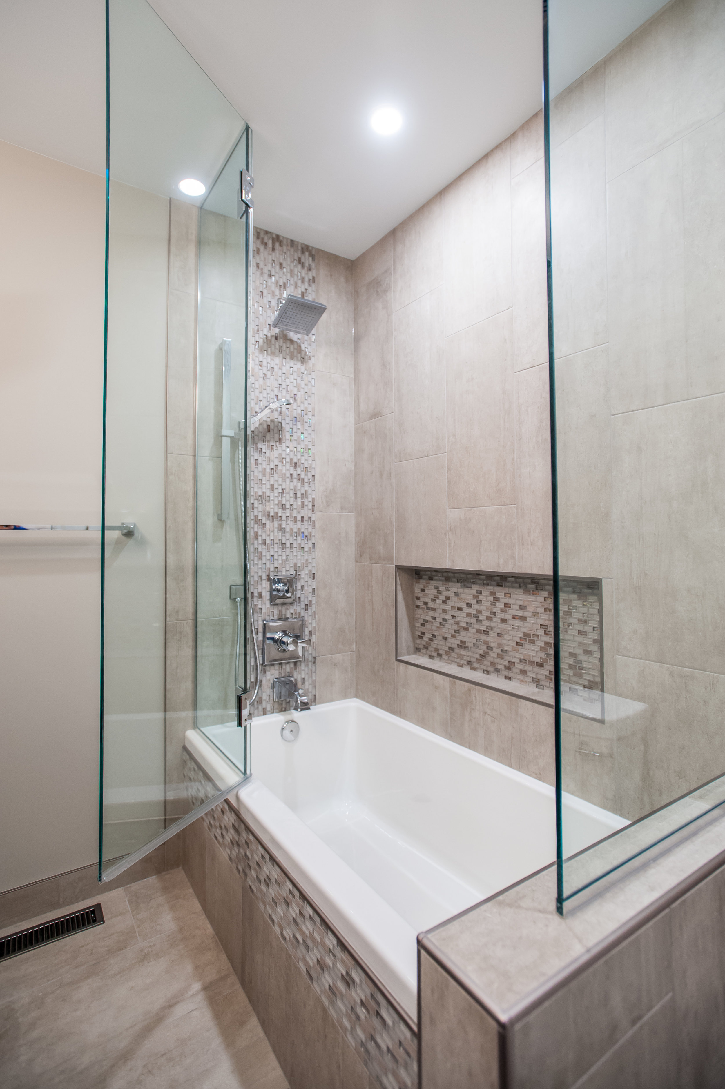 glass enclosure tub shower renovation