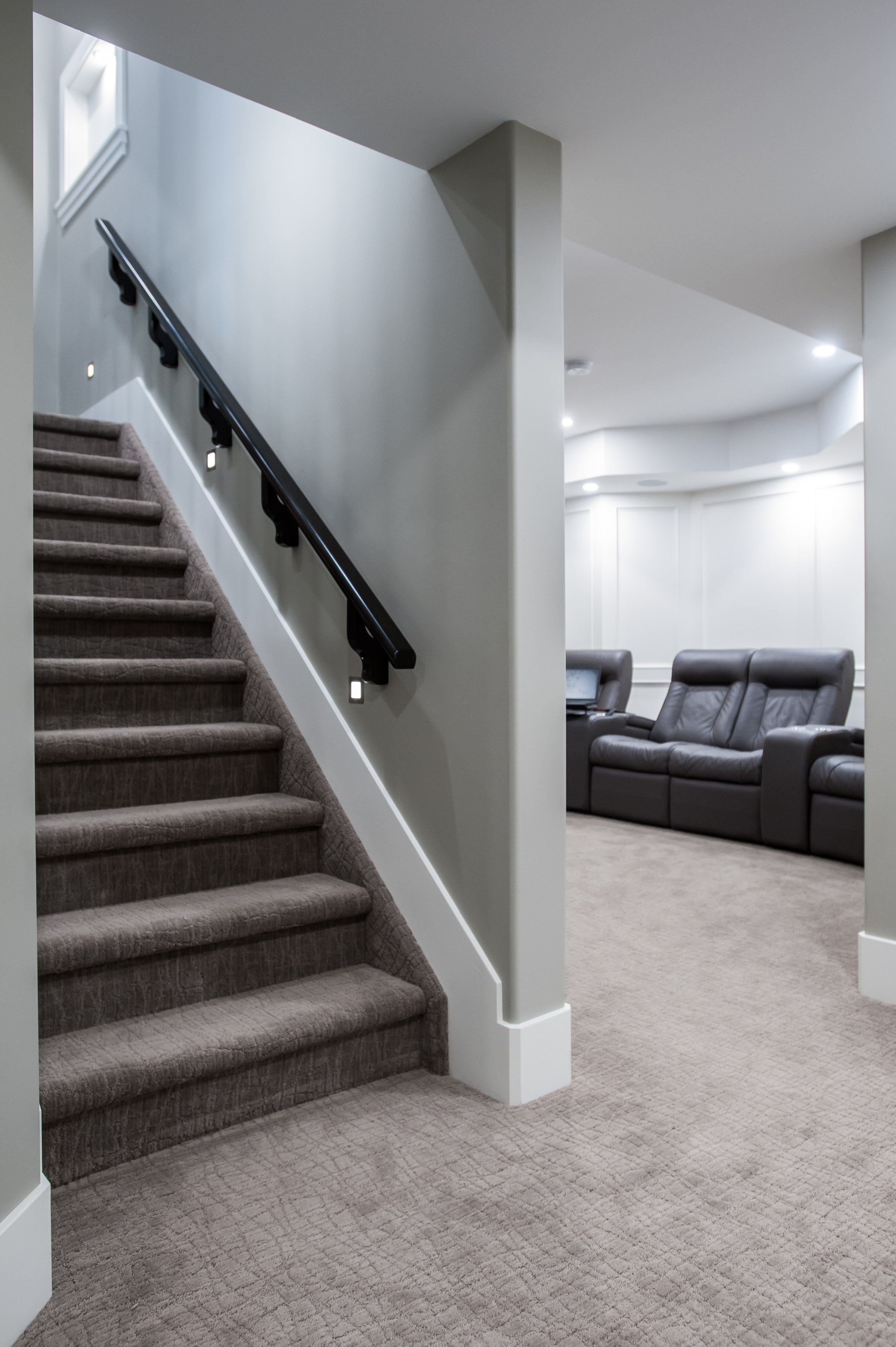 basement stairs lighted