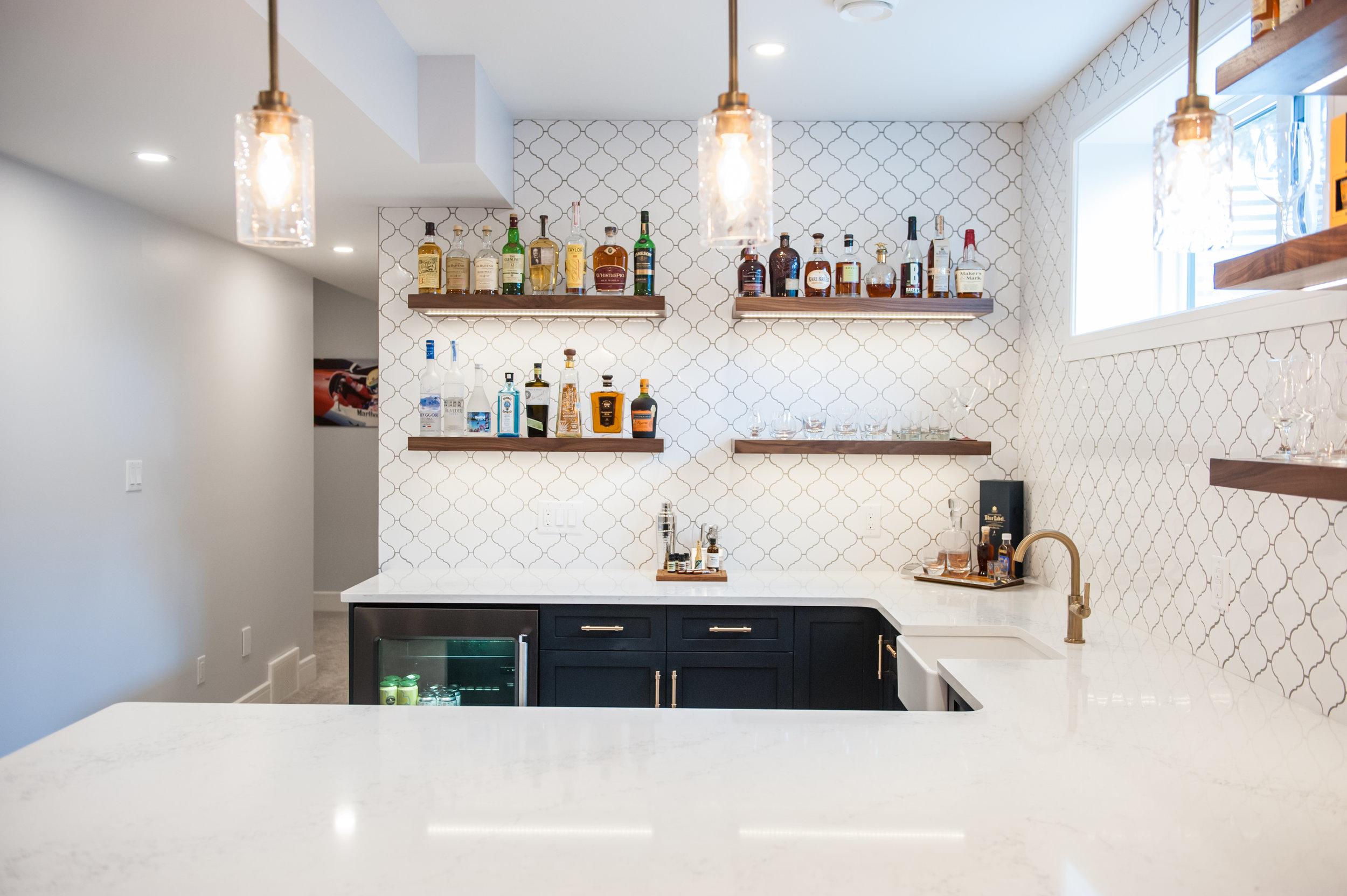 basement bar blue
