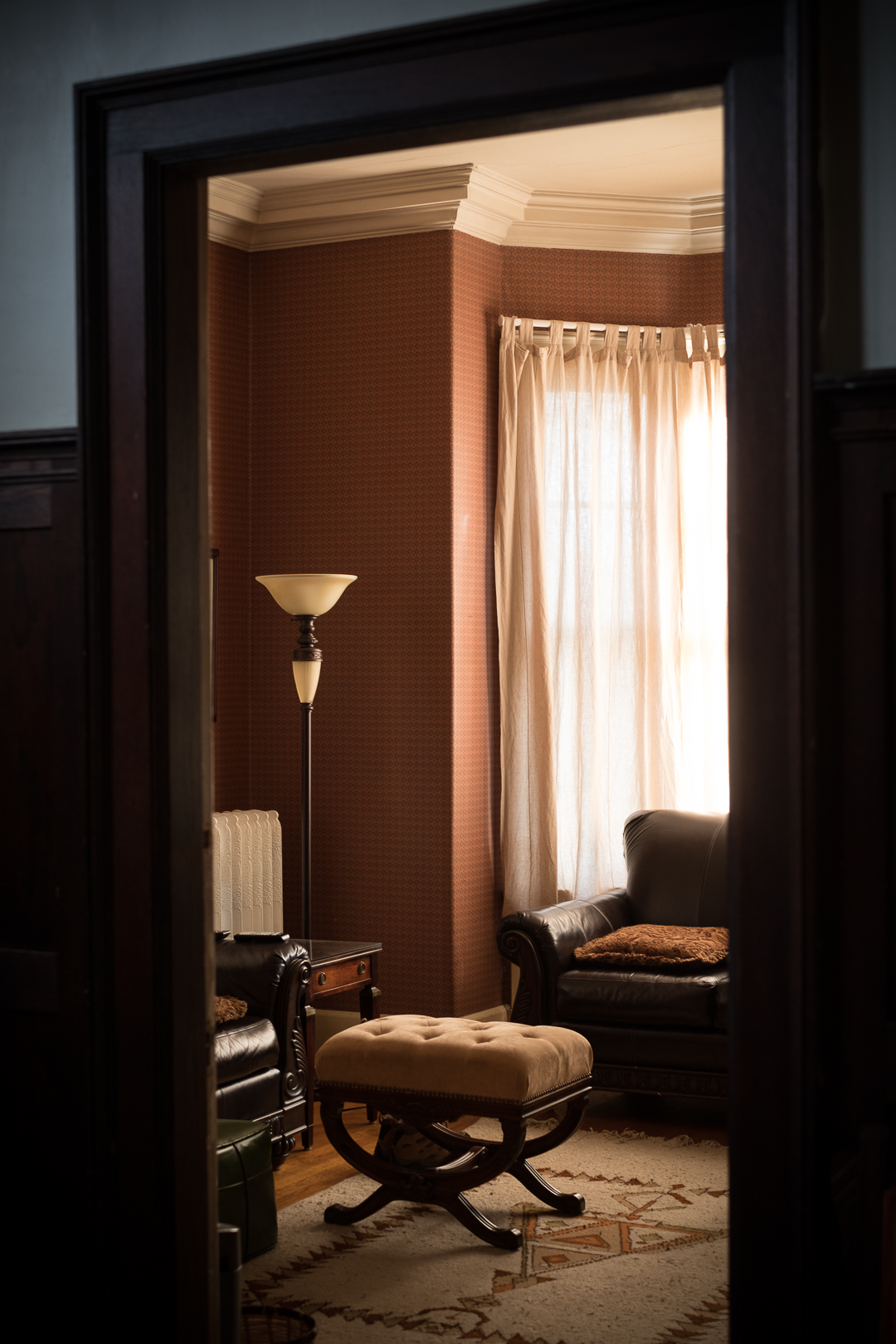 Warm morning light spills into the library of an old Detroit mansion.