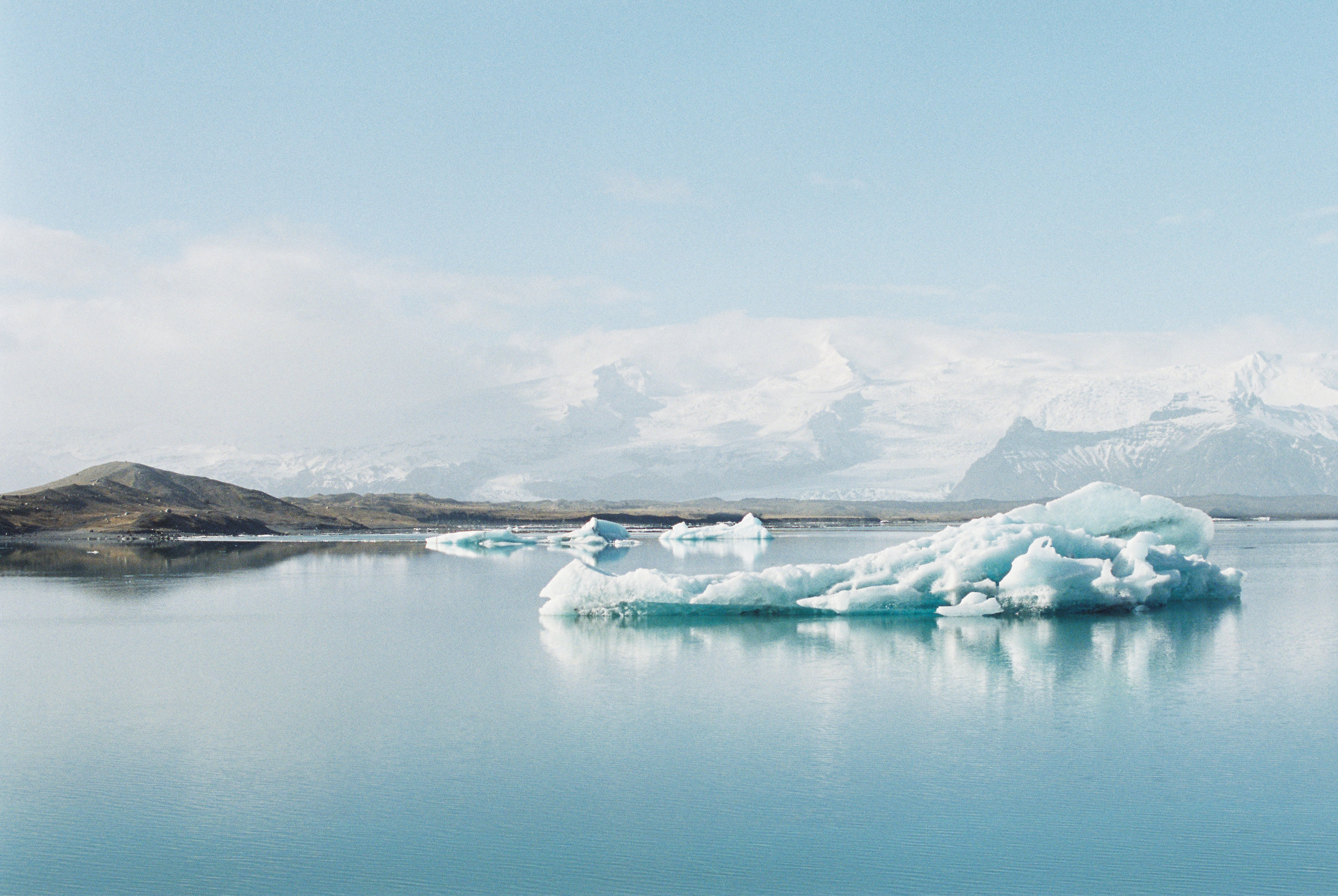 Brandon Sampson Photography. Vatnajökull Iceberg in Glacier Lagoon, Iceland. Film Photography