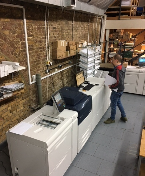 In December 2017 we installed three new digital print machines. The first was a Versant 180 colour machine perfect for the speedy turnaround of flyers, business cards, booklets and presentations The Versant also has a three knife trimmers which means short run booklets can be produced quickly inline. We also added two black and white machines that run at 110 and 127 copies per minute respectively great for multi-page reports.